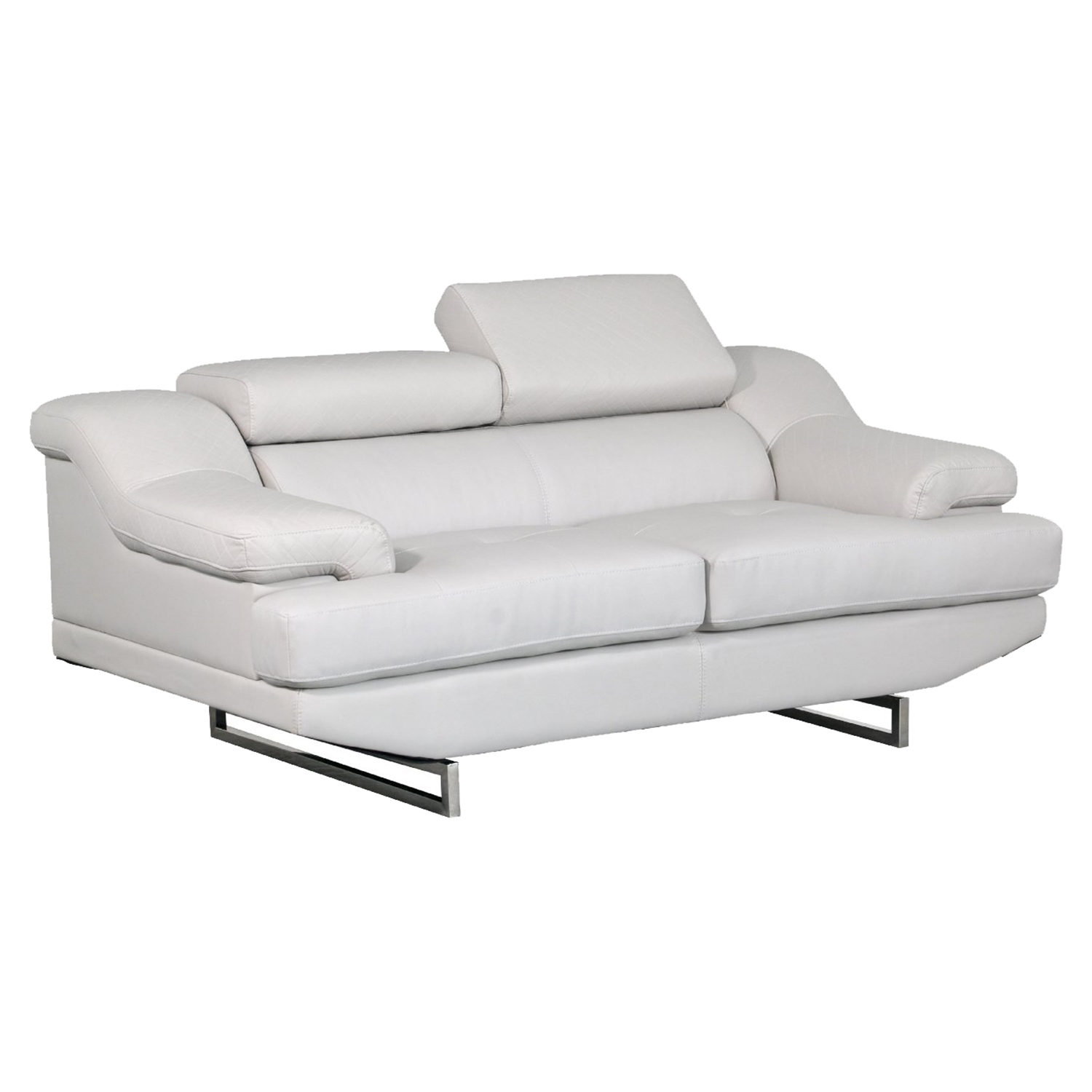 Charlotte Light Gray Leather Loveseat