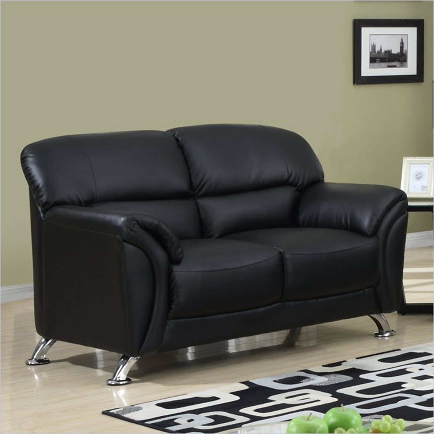 Maxwell Sofa Set in Black Leather Look - GLO-U9103-BL-SET