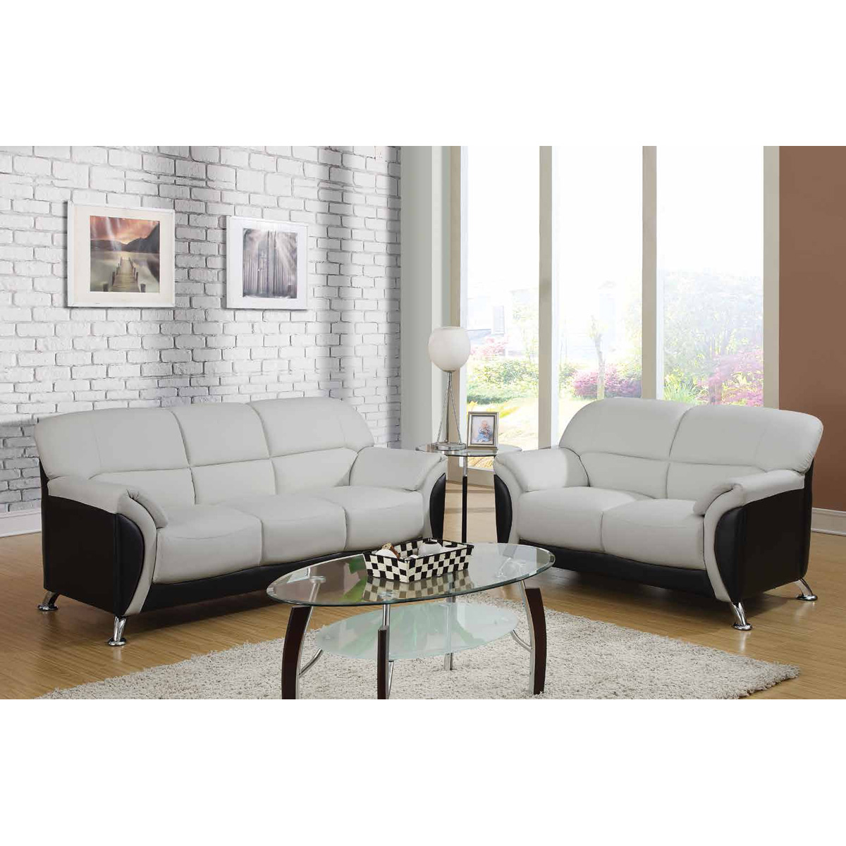 Maxwell Sofa Set in Light Gray/Black