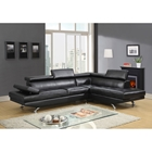 Leslie Bonded Leather Sectional Sofa in Black