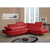 Leslie Bonded Leather Sectional Sofa, Red