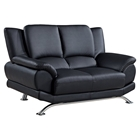 Jesus Leather Loveseat - Black