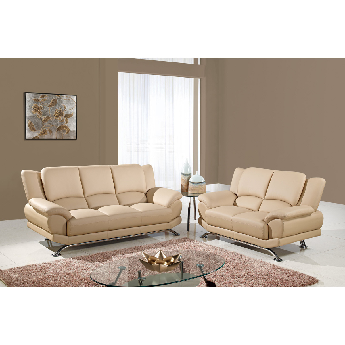 Jesus Leather Sofa Set - Cappuccino