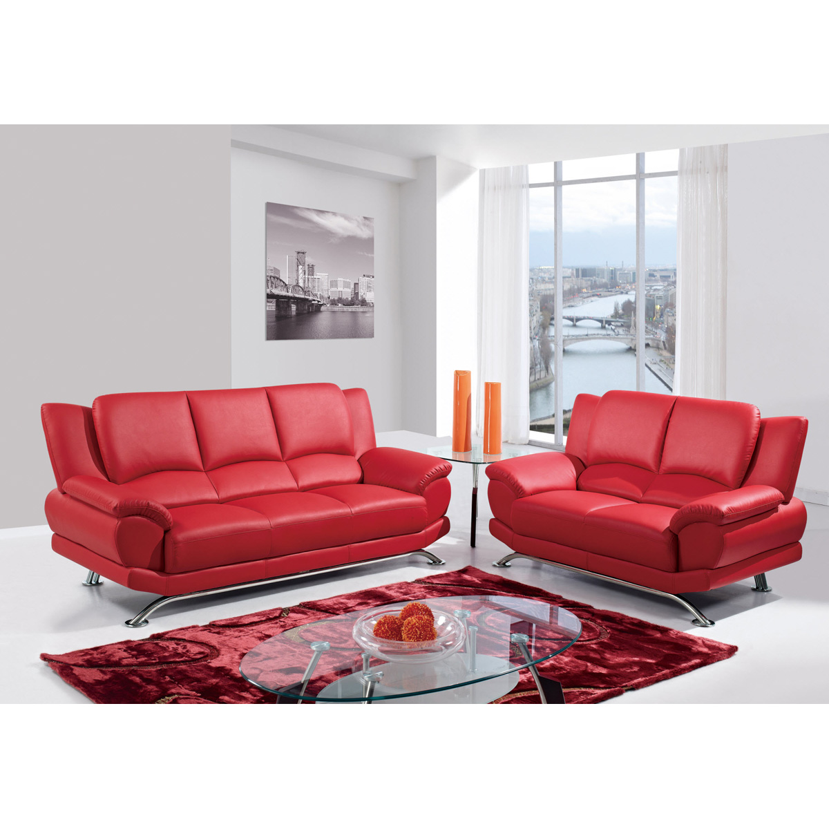 Jesus Leather Sofa Set - Red