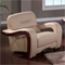 Devin Leather Chair with Mahogany Legs, Cappuccino - GLO-U992-RV-CH