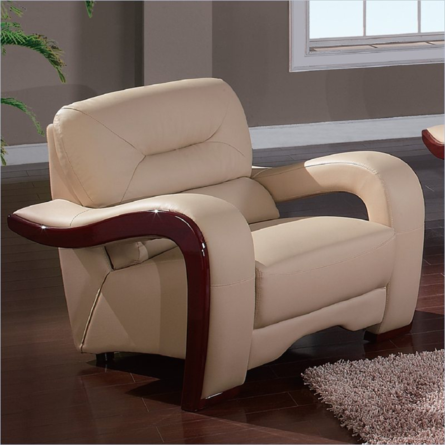 Devin Leather Chair with Mahogany Legs, Cappuccino