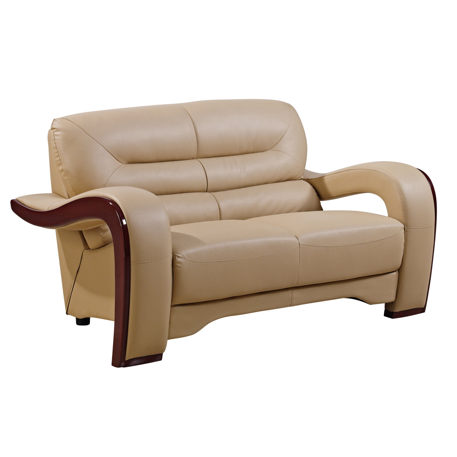 Devin Leather Loveseat - Cappuccino with Mahogany Legs