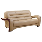 Devin Leather Sofa in Cappuccino with Mahogany Legs