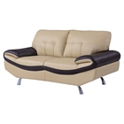 Gracie Leather Loveseat, Cappuccino/Chocolate