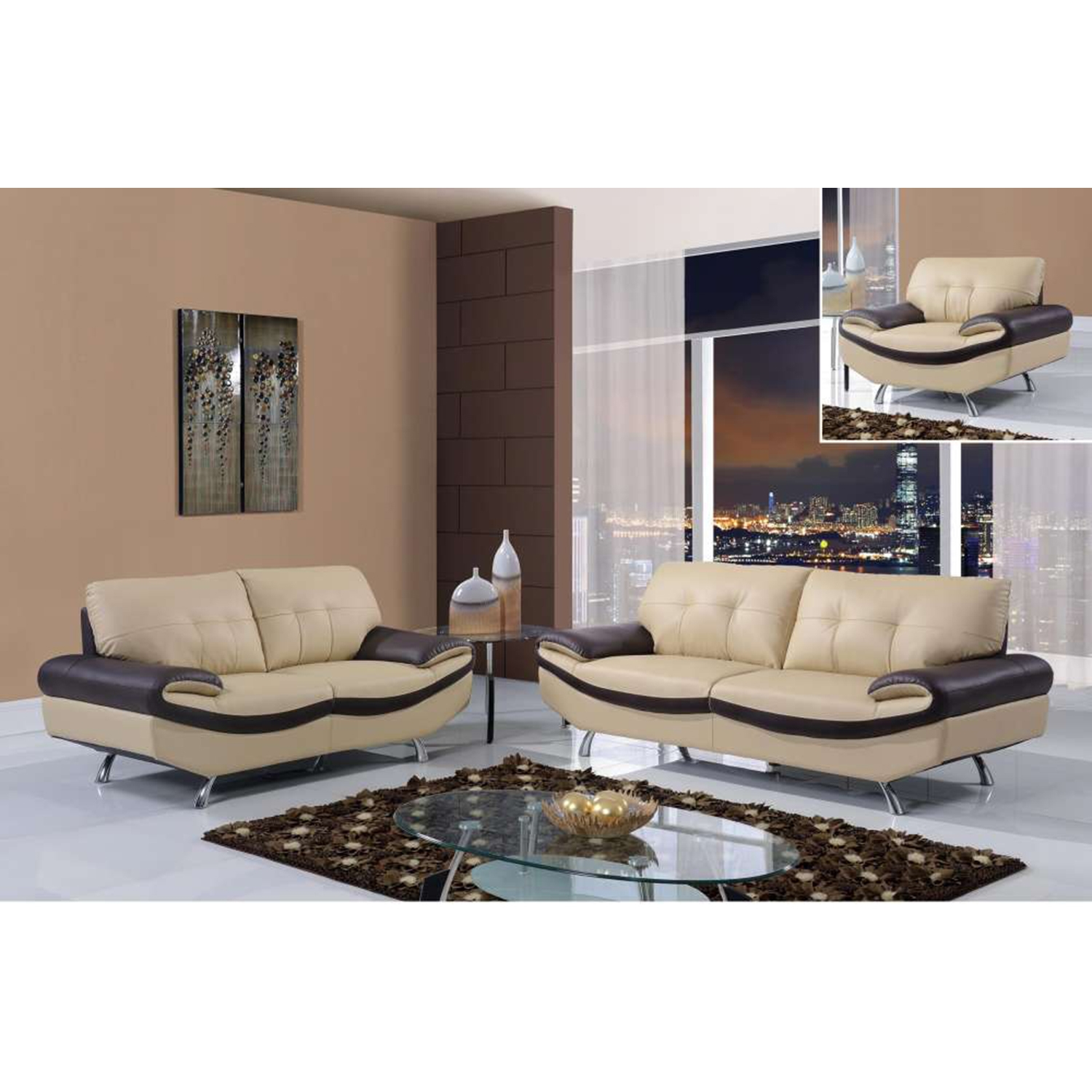 Gracie Sofa Set - Cappuccino/Chocolate Leather