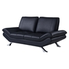 Modern Leather Loveseat in Natalie Black