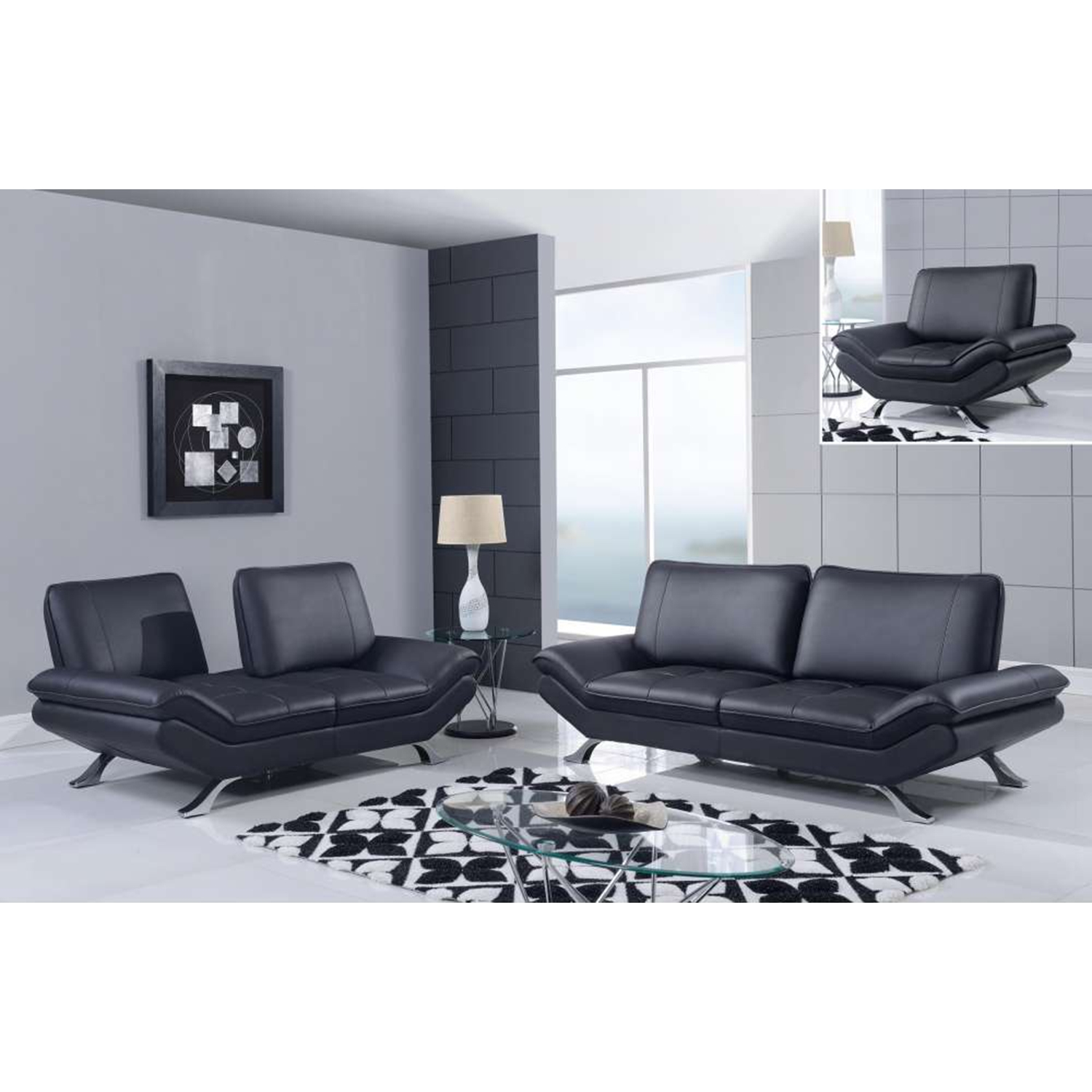 Modern Leather Sofa Set in Natalie Black