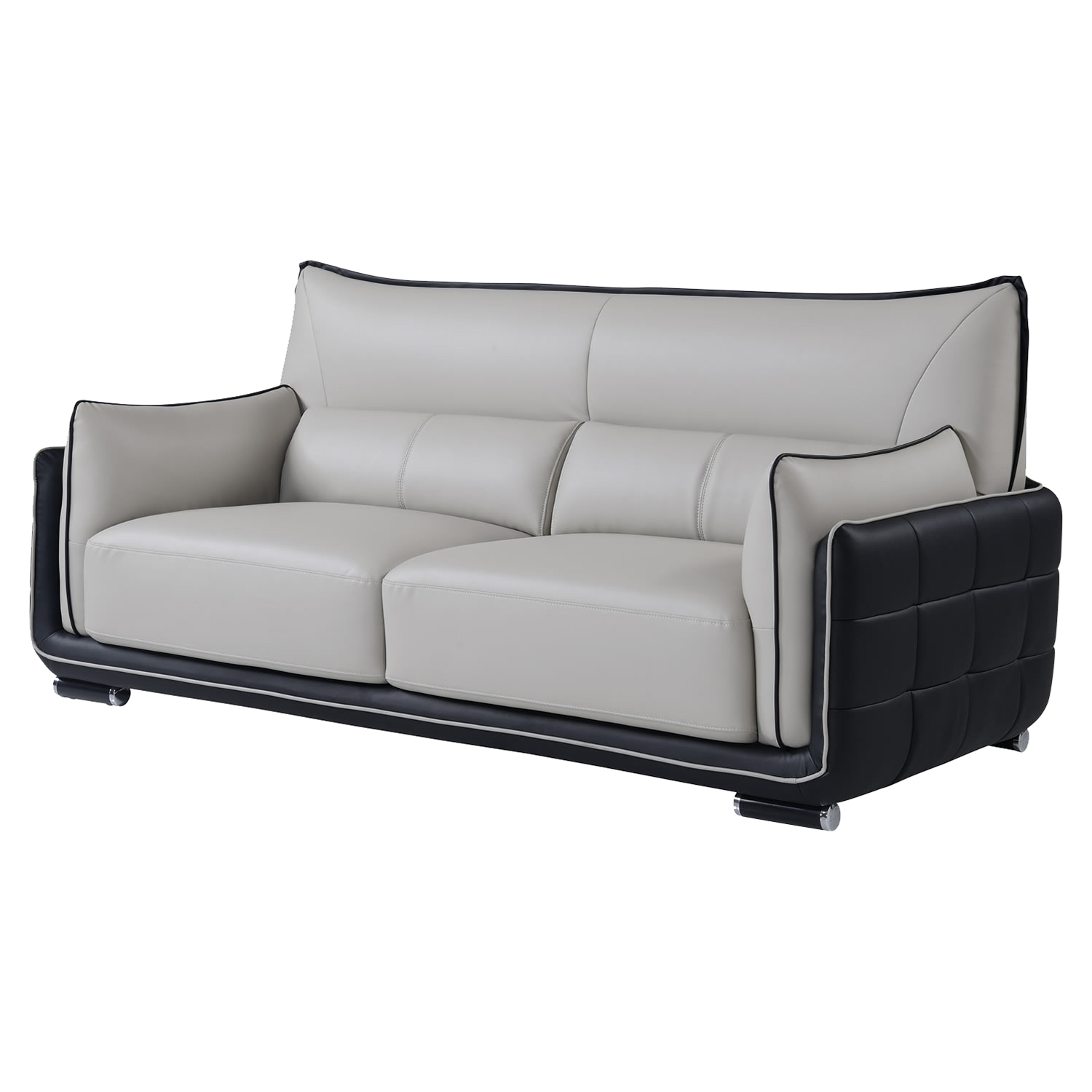 Kaden Natalie Gray/Natalie Black Leather Sofa