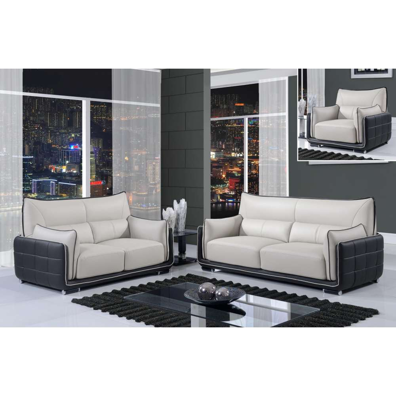 Kaden Natalie Gray/Natalie Black Leather Sofa Set - GLO-UFY220-R6U6-GR-BL-SET