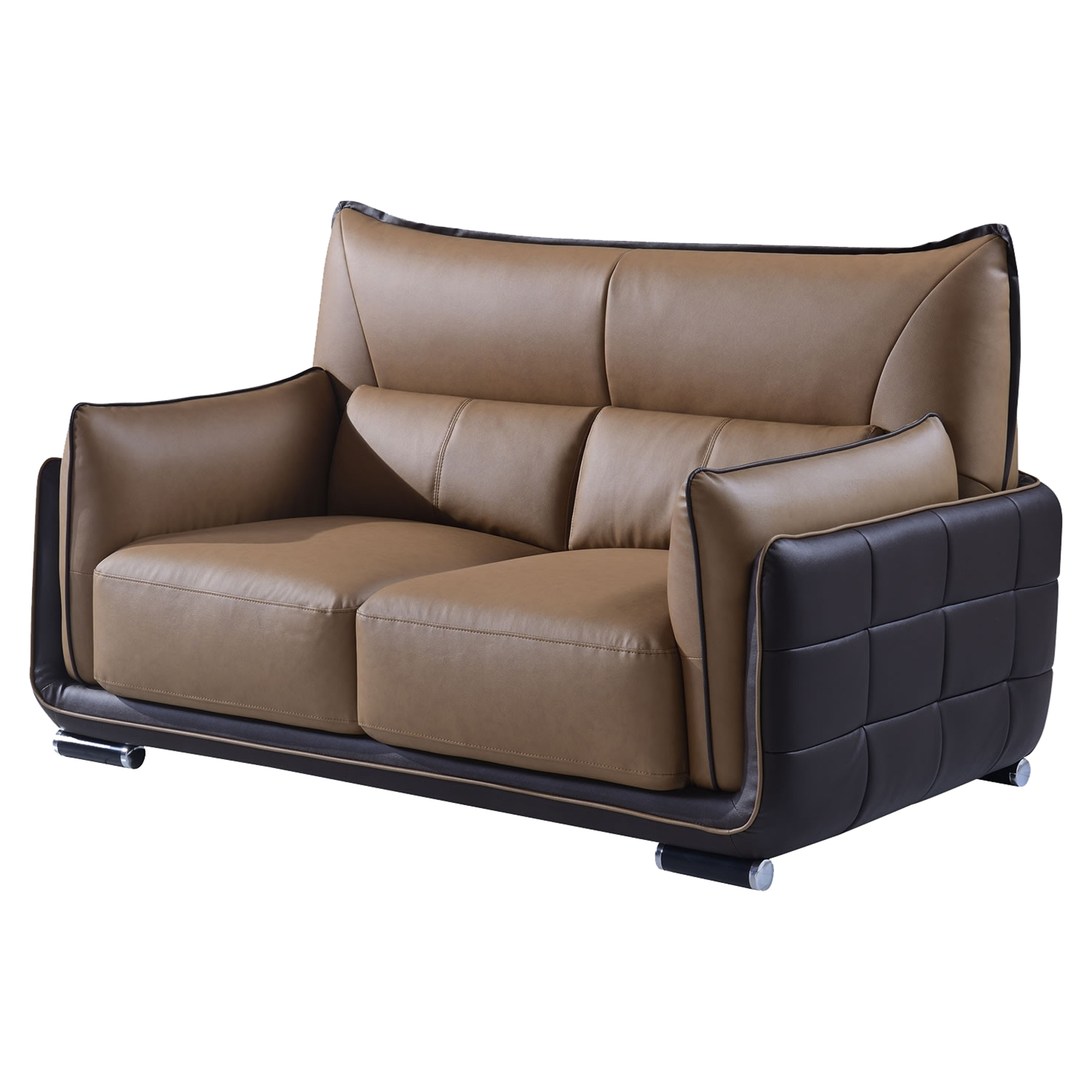 Kaden Brown Leather Loveseat - GLO-UFY220-RV-L