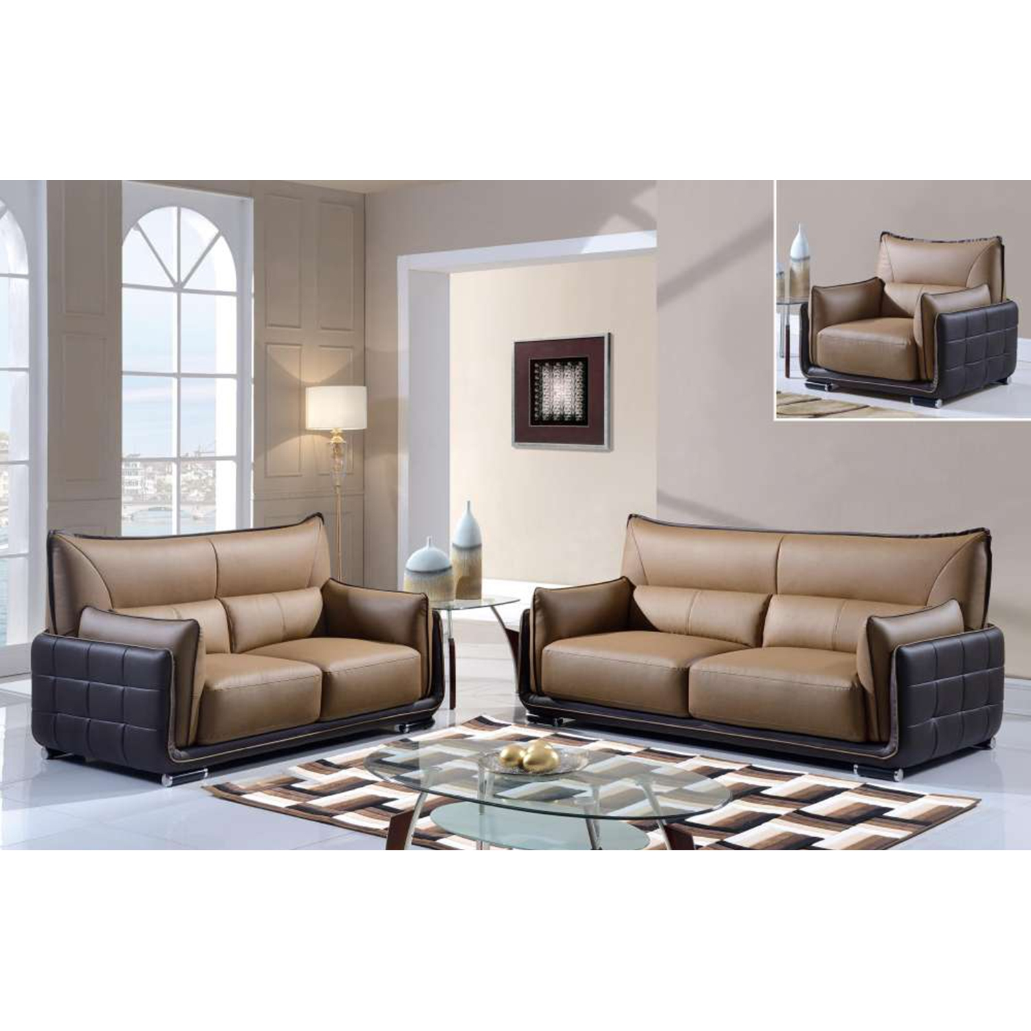 Kaden Sofa Set - Brown Leather