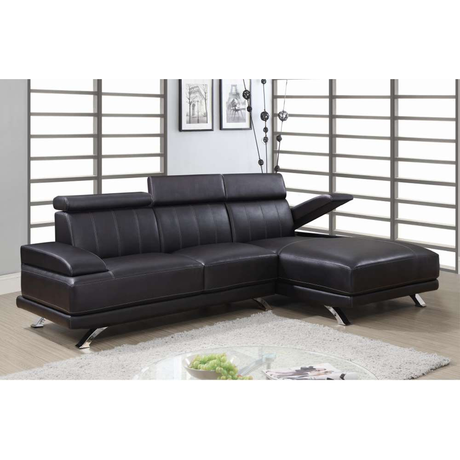 Lindsey 2-Piece Leather Sectional Sofa in Chocolate