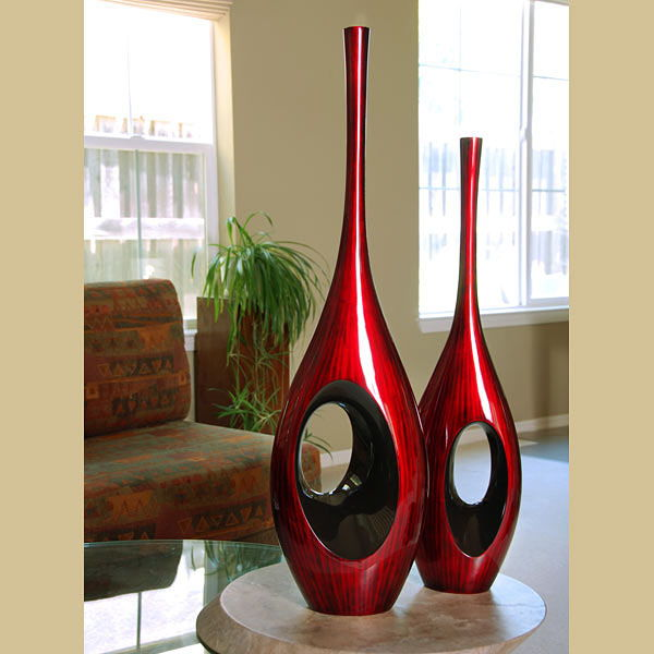 29 Inch Tall Red Black Hole Vase - HEB-LPSC048-S-RB