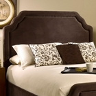 Carlyle Fabric Headboard - Scalloped Edges, Nail Heads, Chocolate