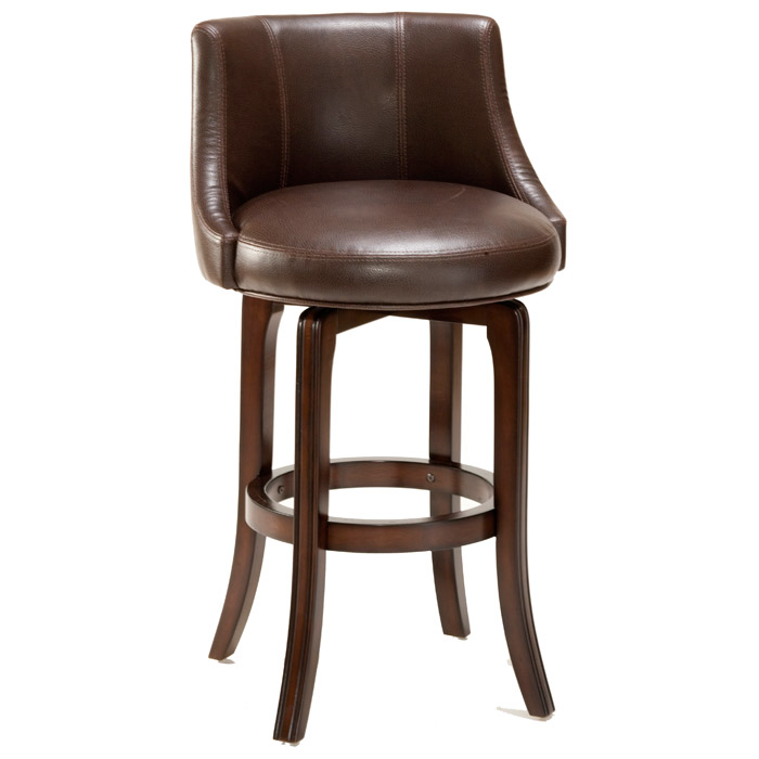 "Napa Valley 30"" Swivel Bar Stool - Cherry, Brown Leather"