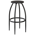 Bowen Backless Stool - Nested Legs, Dark Gray, Black Seat