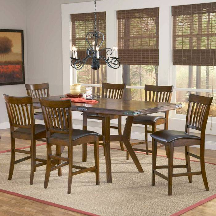 Arbor Hill 7 Piece Expansion Wood Counter Set - HILL-4232GTBS7