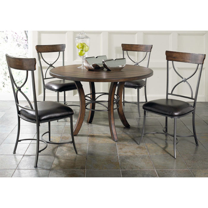 Cameron 5 Piece Round Dining Set with X-Back Chairs - HILL-4671DTBWC2