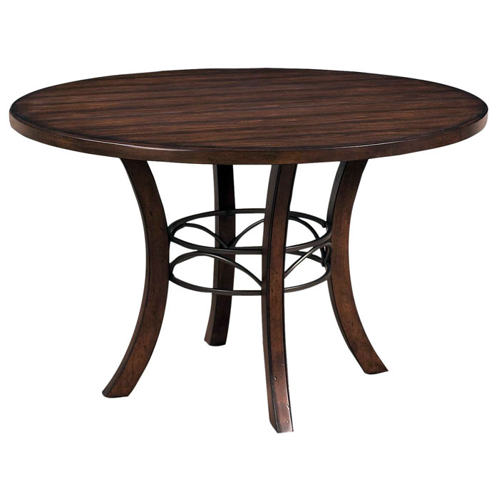 Cameron Round Wood Dining Table with Metal Ring