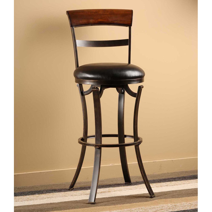 "Kennedy 30"" Swivel Bar Stool with Cherry Wood Top"