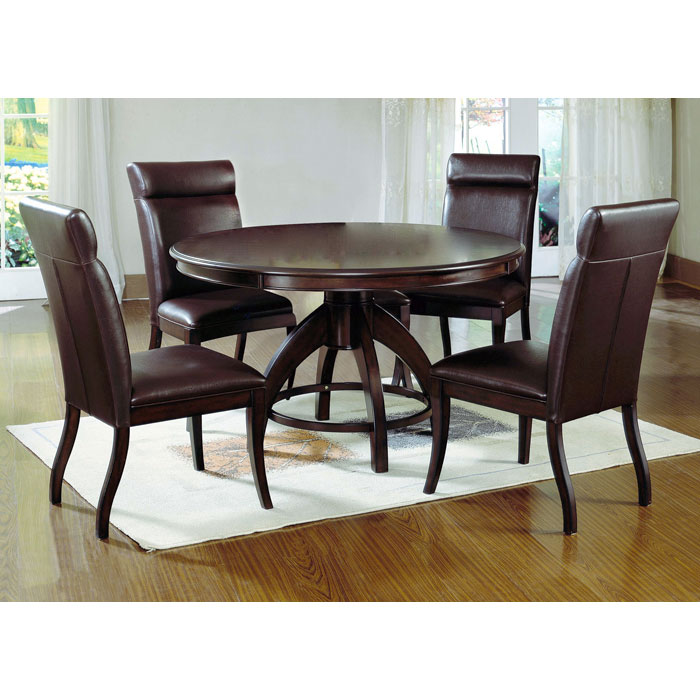 Nottingham Dark Walnut 5 Piece Round Dining Set - HILL-4077DTBC