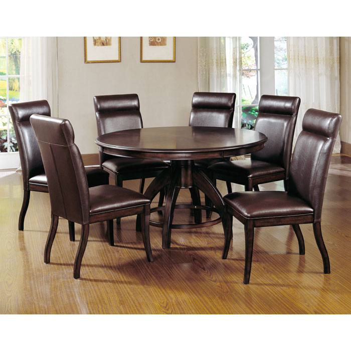 Nottingham Dark Walnut 7 Piece Round Dining Set