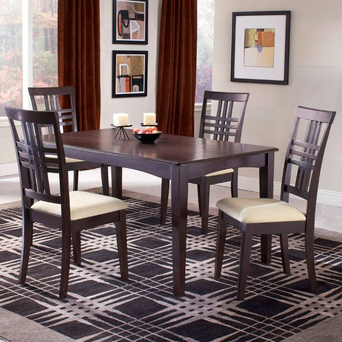 Tiburon Espresso Dining Table with 4 Chairs - HILL-4917DTBC
