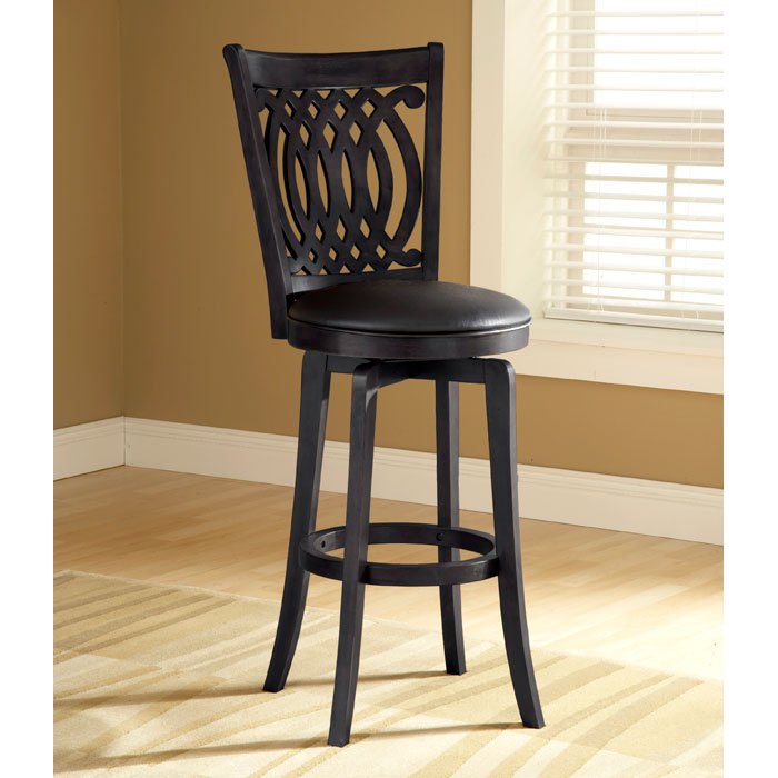 "Van Draus 24"" Black Swivel Counter Stool - HILL-4975-827"