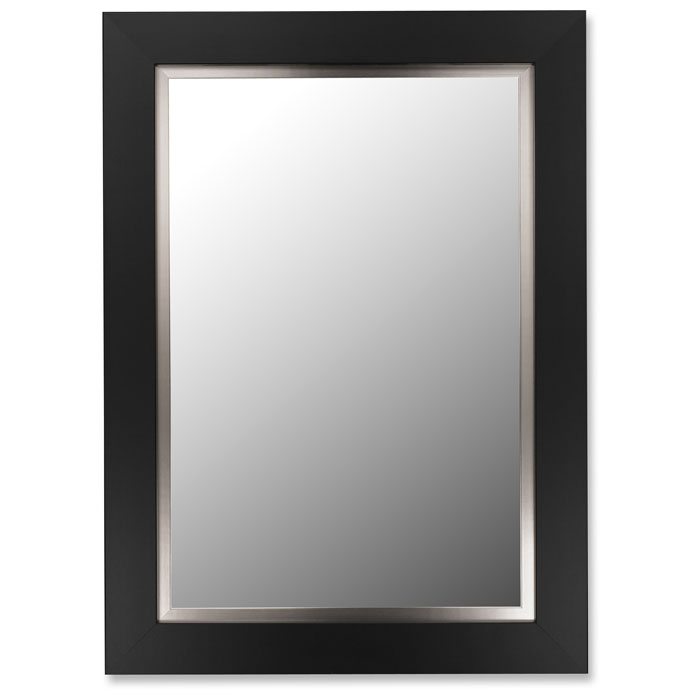 Keaton Black Satin Frame Bevel Mirror with Stainless Liner - Made in USA