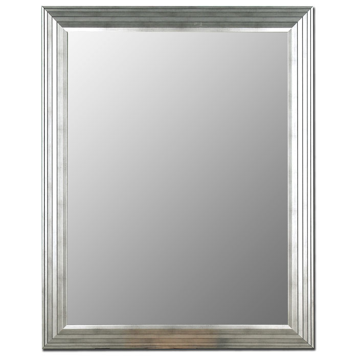 Silvana Stepped Frame Mirror in Imperial Silver - Made in USA