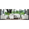 Titan 6 Piece All Weather Wicker Living Room Set in Ivory