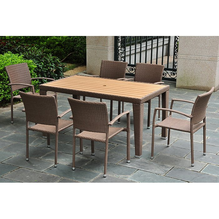 Barcelona Patio Dining Set - Rectangular Table, Antique Brown