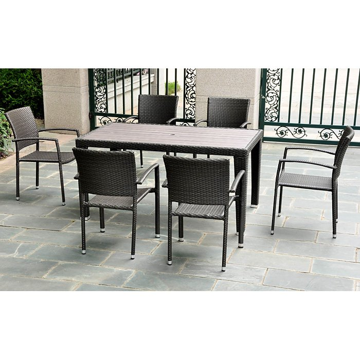 Barcelona Rectangular Dining Table - Black Antique Wicker - INTC-4200-TBL-BKA