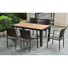 Barcelona Patio Dining Set - Rectangular Table, Chocolate Wicker