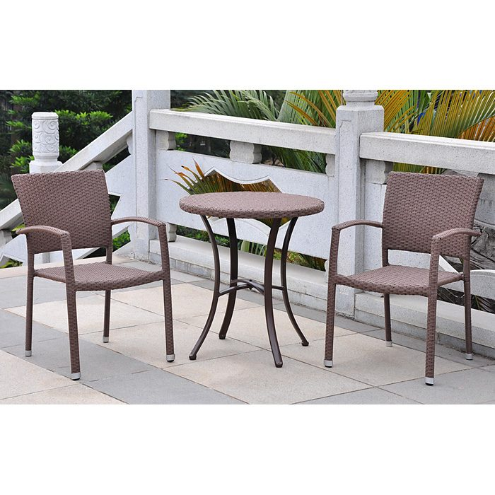 Barcelona Patio Bistro Set - Round Table, Antique Brown Wicker