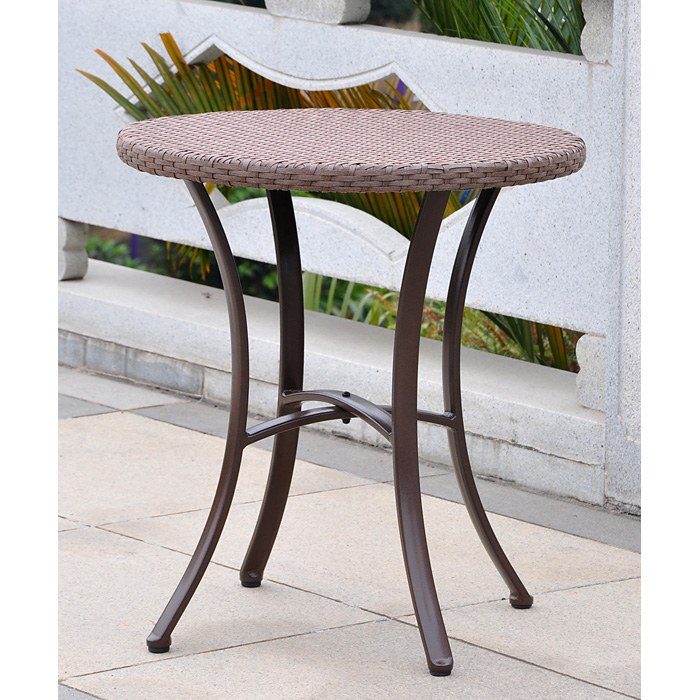 Barcelona Round Bistro Table - Antique Brown Wicker