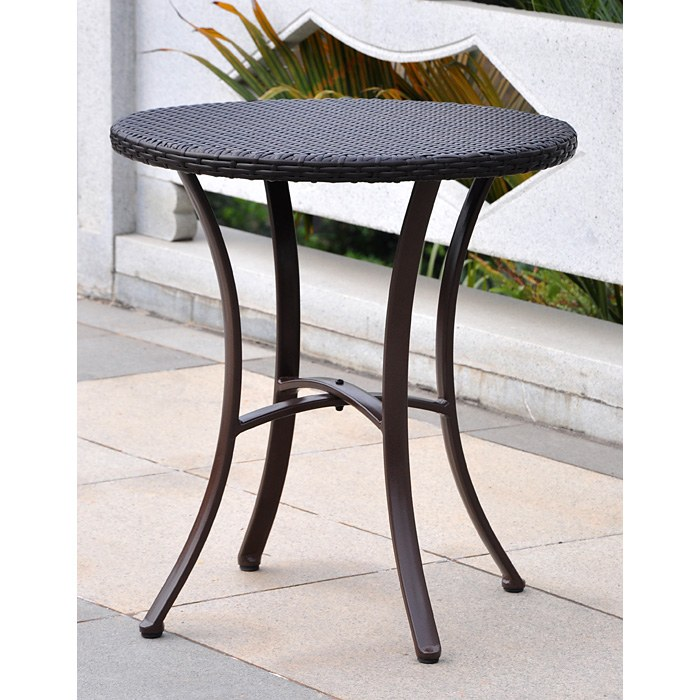 Barcelona Patio Bistro Set - Round Table, Chocolate Wicker - INTC-4203-RD-4210-2CH-CH