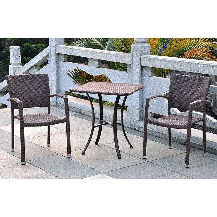 Barcelona 3 Piece Outdoor Bistro Set - Wicker, Square Table - INTC-4205-SQ-4210-2CH