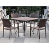 Barcelona Patio Dining Set - Square Table, Antique Brown Wicker