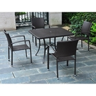Barcelona Patio Dining Set - Square Table, Black Antique Wicker