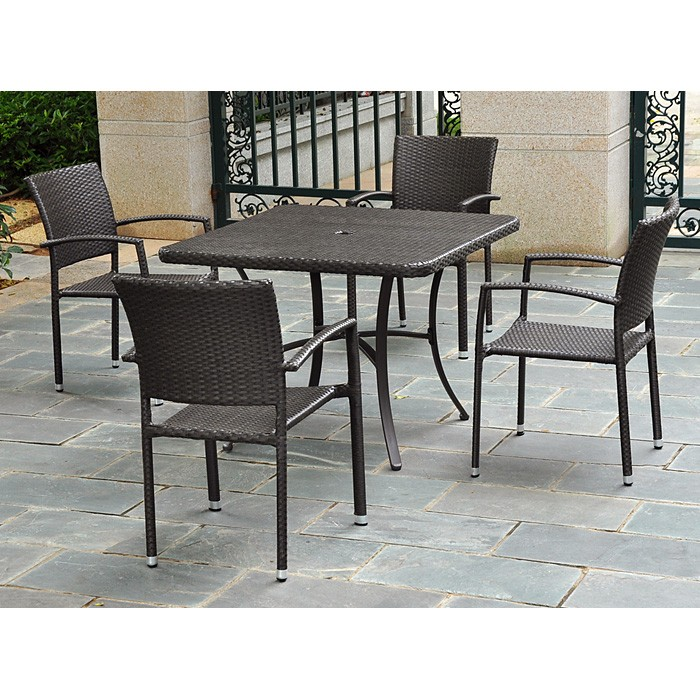 Barcelona Patio Chair - Stackable, Chocolate Wicker (Set of 2) - INTC-4210-SQ-2CH-CH
