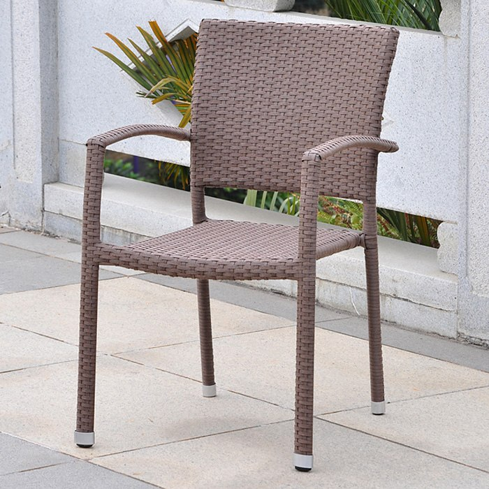 Barcelona Patio Chair - Stackable, Antique Brown Wicker (Set of 2)