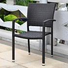 Barcelona Patio Chair - Stackable, Black Antique Wicker (Set of 2)
