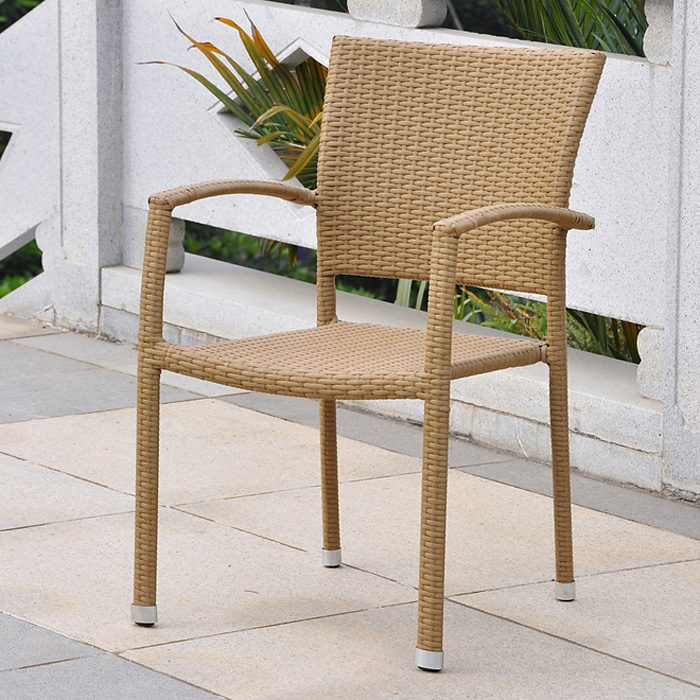 Barcelona Patio Chair - Stackable, Honey Wicker (Set of 2)