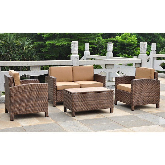 Barcelona Patio Living Room Set - Antique Brown Wicker, Coffee